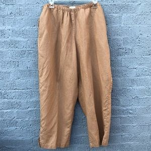 Liz Claiborne Livvy Linen Pants-Tan-Plus 2 Petite